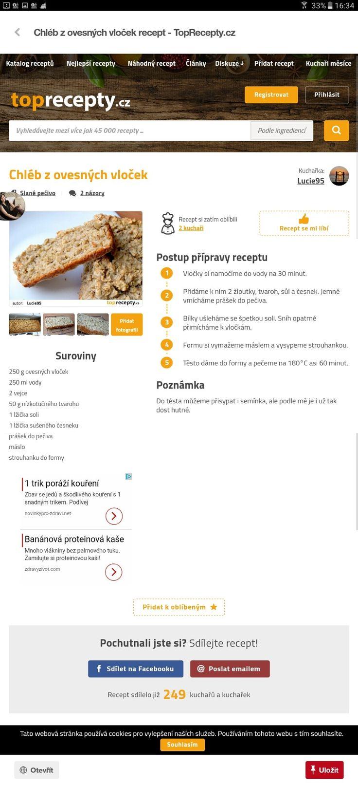 Chleb s ovesnych vlocek