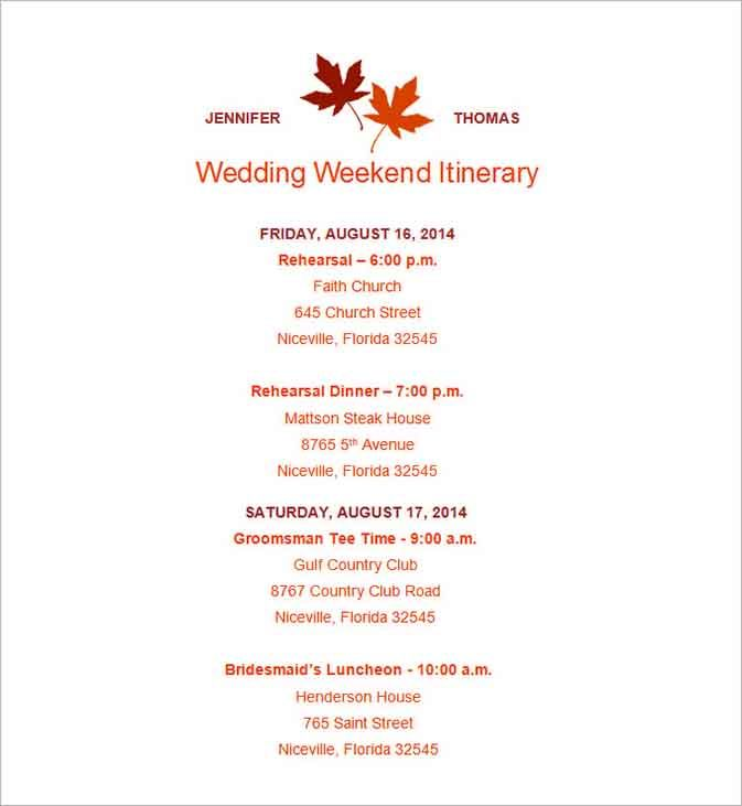 Free Wedding Itinerary Template Sample In 2020 Wedding Weekend Itinerary Wedding Itinerary Wedding Itinerary Template
