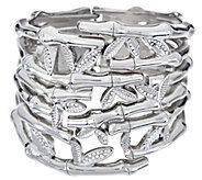Attitudes by Renee Textured Bangle with Embedded Stones - J326881
