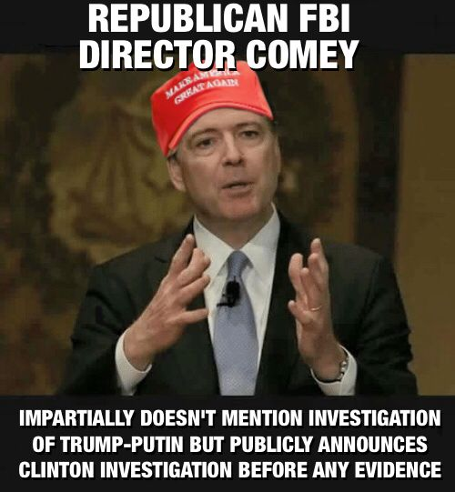 Republican Director of FBI Comey seems to have forgotten that he isn't running for political office or is he? He has a few hours left before the election polls close, maybe Comey can get in one more public announcement.