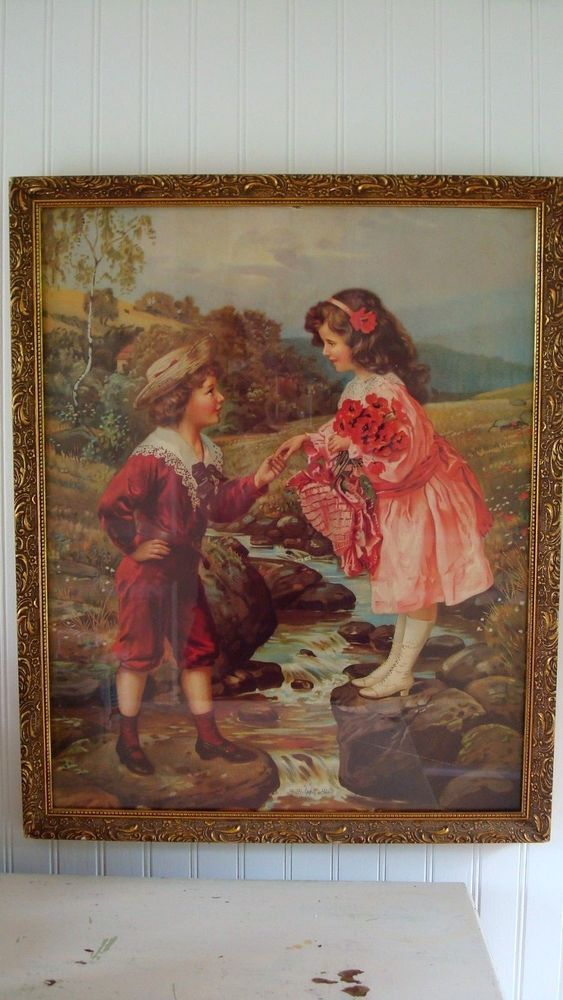 Vintage Wall Decoration Framed Picture ART Reproduce Victorian Kids Boy Girl