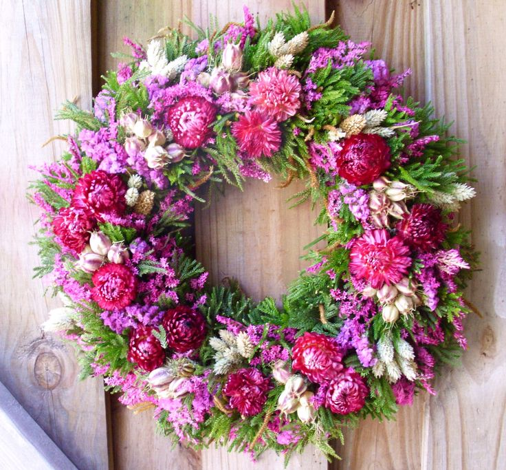 Summer Dried Flower Wreath-these colors say cheerful to me