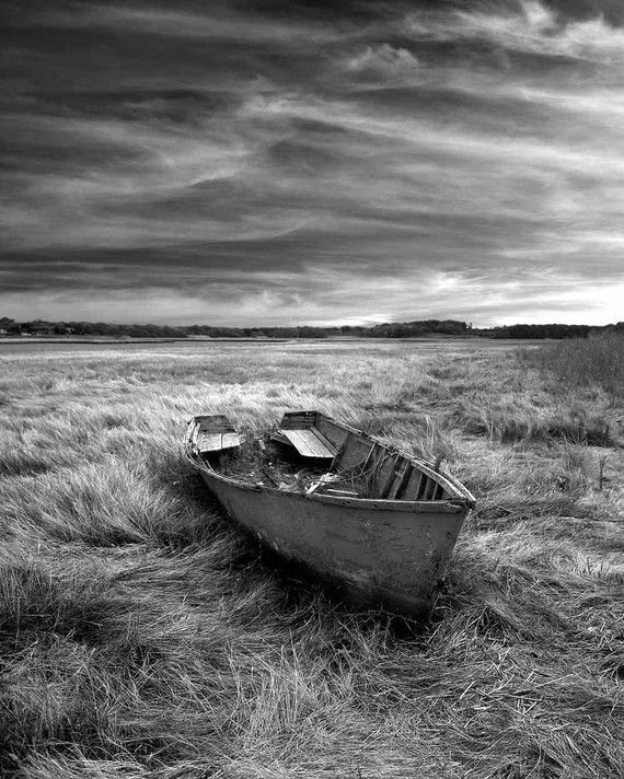 Black & White photo of old boat in field by unadillaarts on Etsy