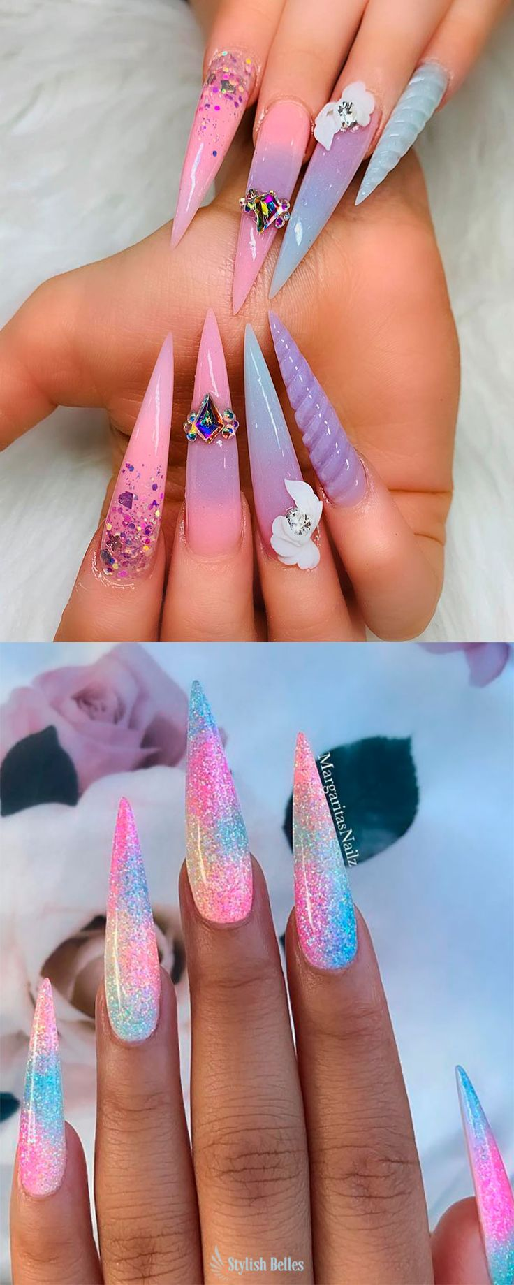 Cute long stiletto unicorn nails ideas adorned with ...