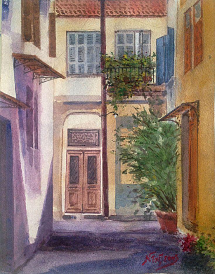 ''Nafplion'' 30x40 cm watercolor by Babis Douzepis