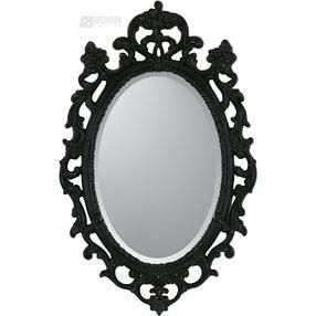 Black Ornate Traditional Oval Mirror