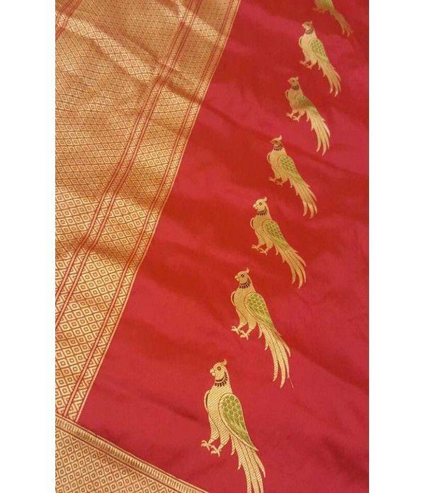 Red Banarasi Pure Kadwa Katan Silk Handloom Dupatta