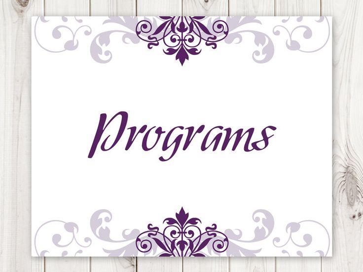 Wedding Sign Template Elegant Ironwork Plum Purple DIY Printable Progrmas Welcome