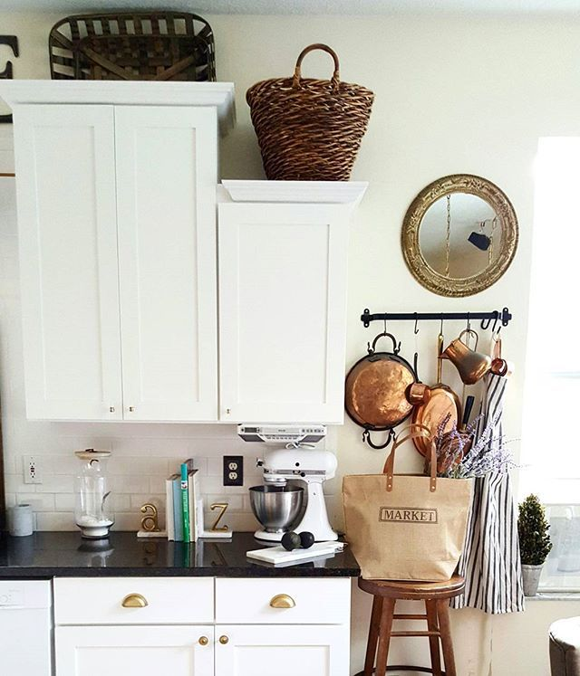 From Instagram White Kitchen With Copper And Wood Basketsa Favorite Combination Industrial Farmhouse