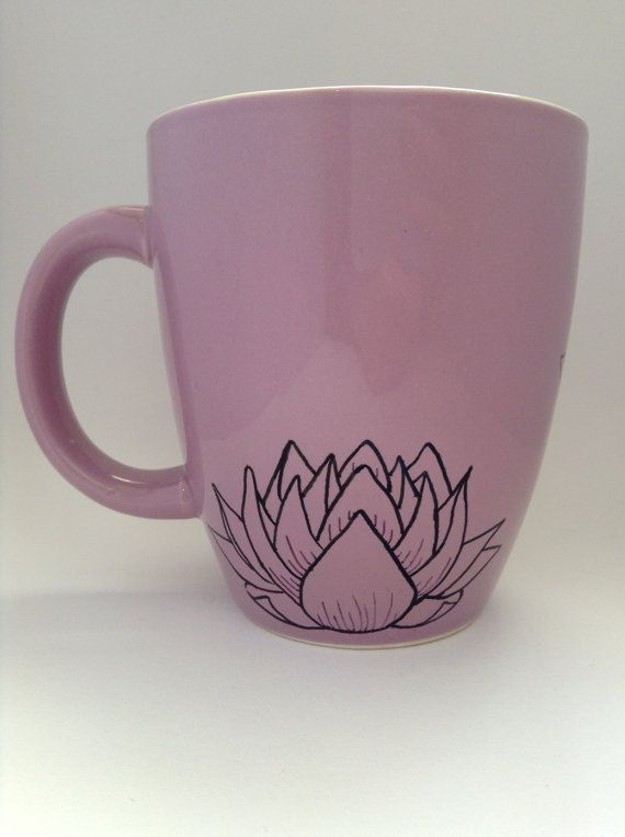 Peaceful purple lotus' - large purple coffee or tea mug - gift for nature lover, or Asia fan - thoughtful gift - Buddhism - Hinduism on Etsy, $9.12