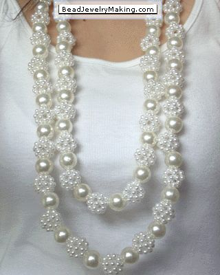 Beaded Pearl Necklace - would be nice for one of the girls in the pink or blue dresses to wear if they like it