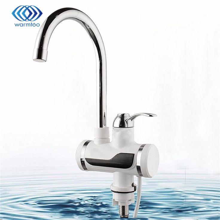 220 V Edelstahl Kunststoff Silber Weiß Led-digitalanzeige Elektroheizung Sofortiger Wasserhahn Küche Badezimmer Tap
