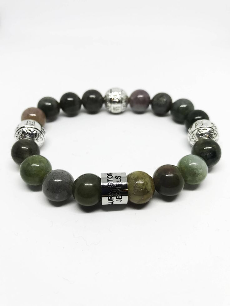 The Earth Stone Meditation and Healing Indian Agate and Sterling Silver Bracelet