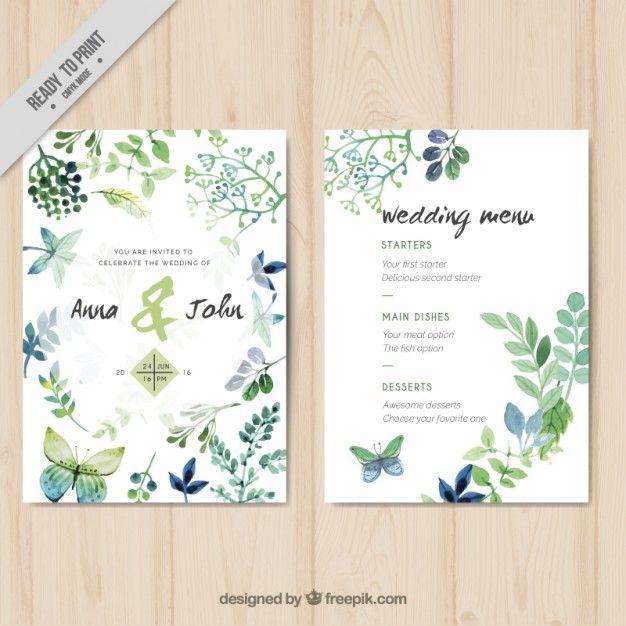 Convite do casamento com folhas da aguarela e borboletas Vetor grátis