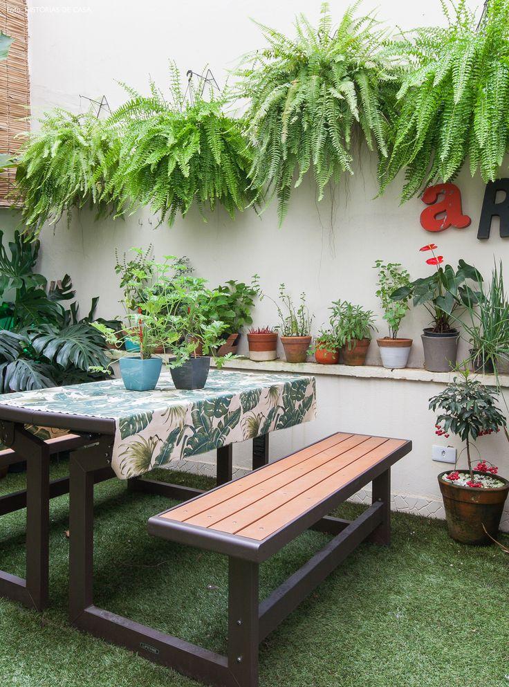 Apartamento no centro de São Paulo com jardim. Destaque para as samambaias e costela de Adão.