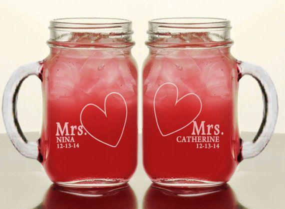 MRS and MRS Personalized Lesbian Couple Wedding Mason by eugenie2, $21.95