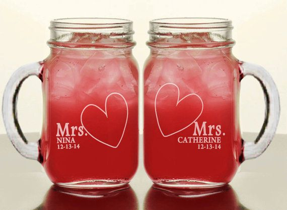 MRS and MRS Personalized Lesbian Couple Wedding Mason by eugenie2, $21.95