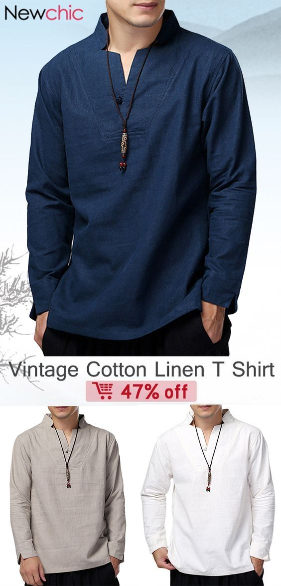 0b5d3b062 Vintage Chinese Style Cotton Linen Stand Collar Solid Color Casual Loose T  Shirts for Men #shirts #mensfashion #menswear #vintage