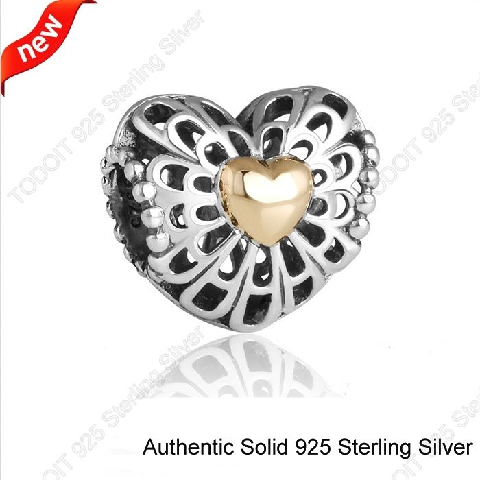 925 Sterling Silver Openwork Love Golden Heart Two Tone European Bead Charm Fit Pandora Style Bracelets Necklaces