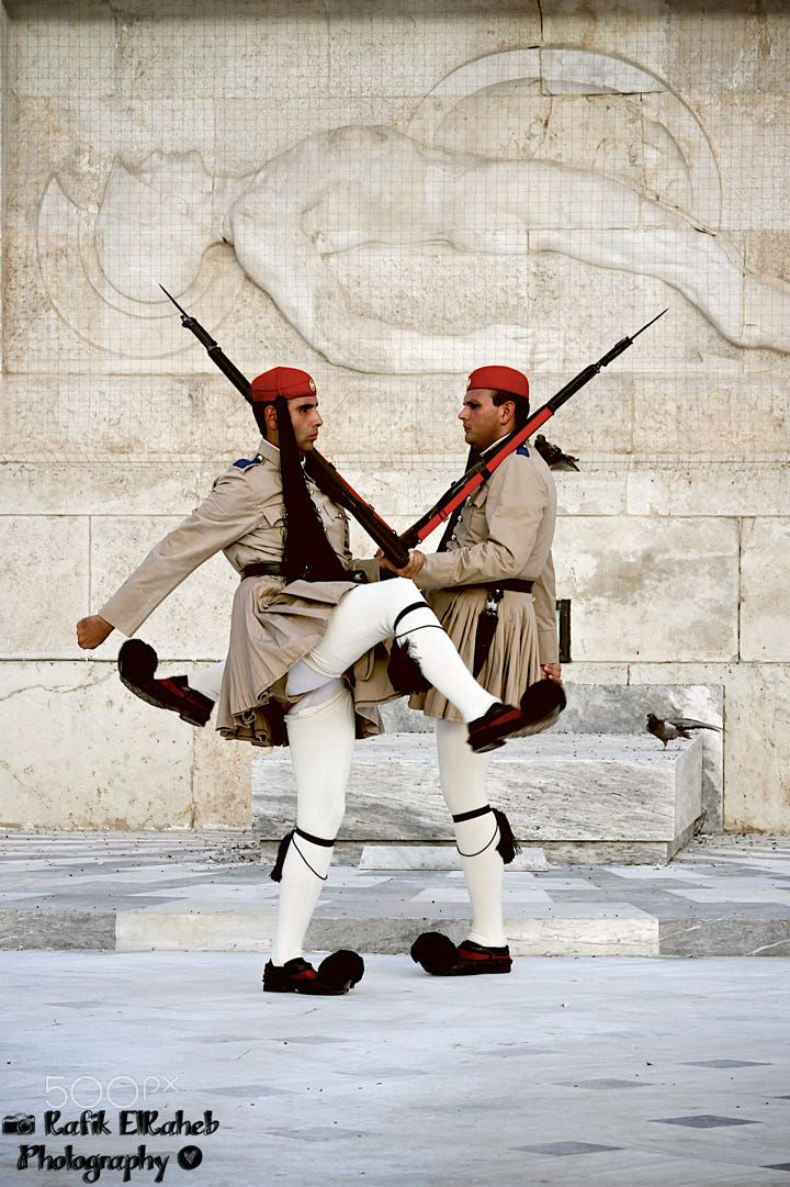 One of the must see tourist attractions in the greek capital (Athens). Watching the change of guards.