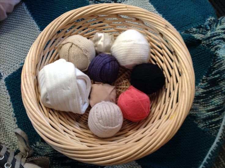 We have recycled the straps from old cardigans and turned them into soft balls for the children to play with, and develop their gross motor skills. - Gowrie Victoria