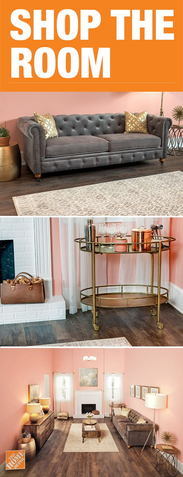 Shop everything you need to recreate the look of this living room. From the tufted couch to the gold bar cart. Click-through to our 360-degree shopping experience and recreate this look for your home.