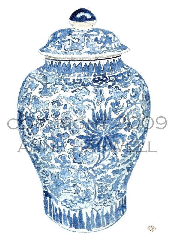 interior blue u0026 white ginger jar - Ginger Jars