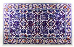 "20th century Turkish tile table top, 39"" x 24""."