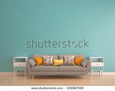green mint wall with sofa & sideboard on wood floor-interior - stock photo