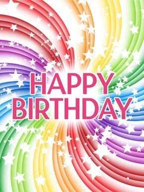 """Transparent Rainbow Happy Birthday Card: Send dizzying joy this year! Birthdays are whirlwind affairs, full of parties and well wishes and presents. Stop the swirl for just one second, enough time for your shout of """"Happy Birthday!"""" to reach across the miles. Your feelings will then kick-start the world, bringing with it more joy and giggles. This birthday card makes your wishes heard and amplifies everyone else's!"""