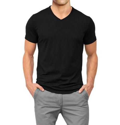 V-Neck Basic Muscle Fitted Plain T-Shirt - Black - Muscle Fit Basics  - 5