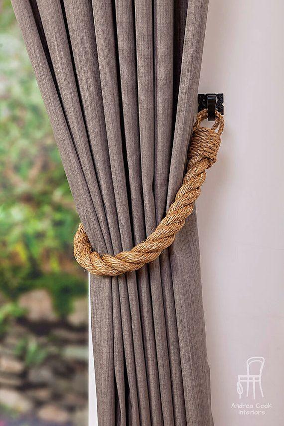 Extra Thick Manila Rope Curtain Tiebacks / chunky ties /shabby chic tiebacks/ rustic ties/ curtain holdbacks/nautical tie-backs/ beach house