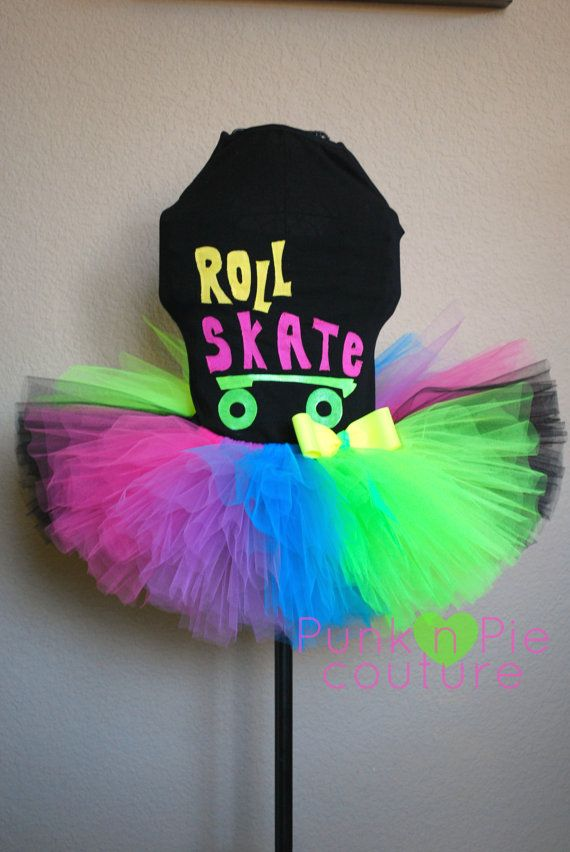 80's Neon Roller Skate Tutu Birthday Party Set by punknpiecouture, $65.00