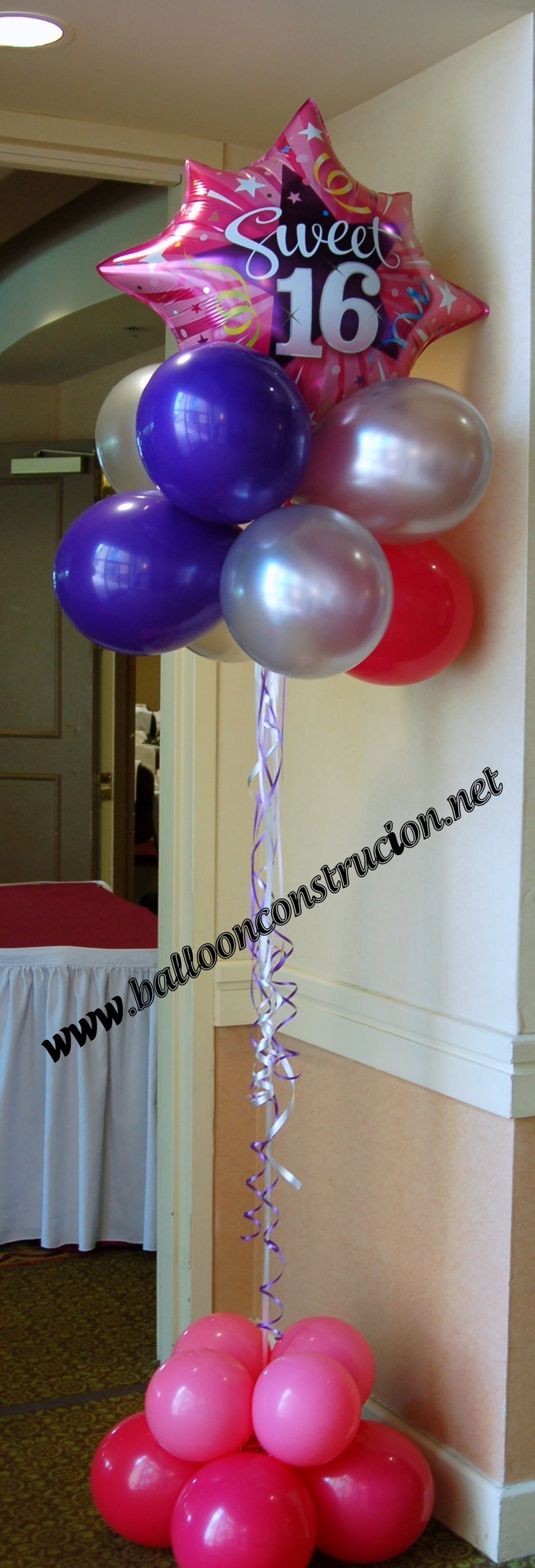 26 best images about sweet 16 balloon event decor on for Balloon decoration ideas for sweet 16