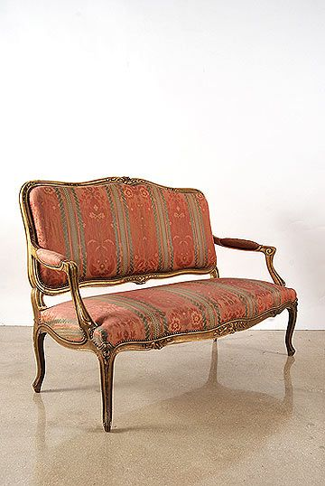 French Antique Louis XV Style Giltwood Settee, France, ca. 1880