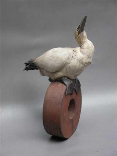Stoneware Birds Sculptures or statue by artist Brendan Hesmondhalgh titled: 'Gannet'