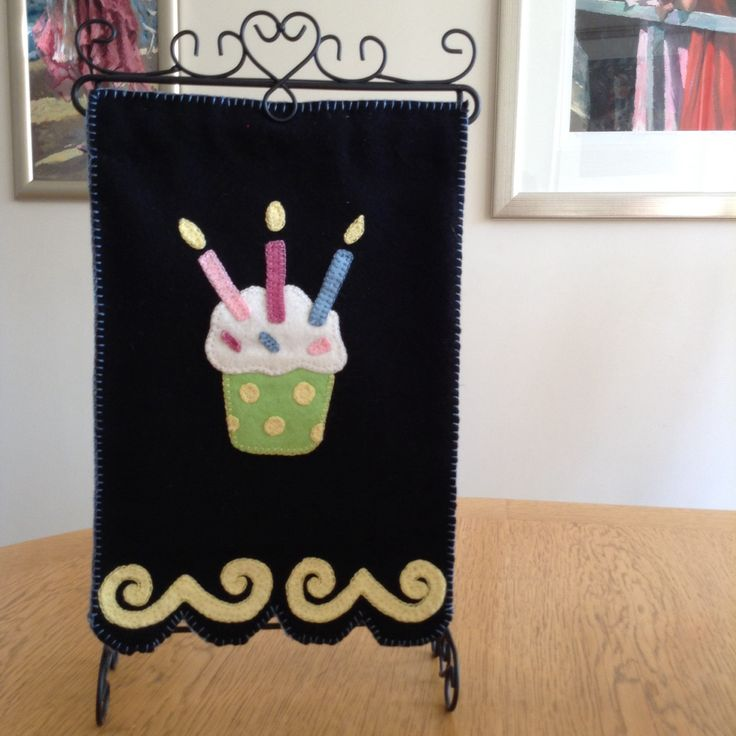 Happy birthday woolfelt applique