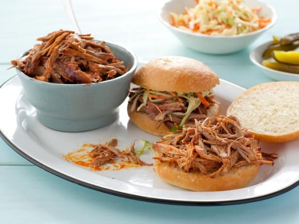 For Alton's Perfect Pulled Pork, he infuses the meat with flavor from the inside out by soaking it in a molasses brine before smoking it until fall-apart tender. #RecipeOfTheDay: Alton Brown, Pork Recipes, Barbecue Recipe, Pulled Pork Recipe, Bbq Sauces, Smokers, Food Network Recipe, Foodnetwork, Pork Sandwiches