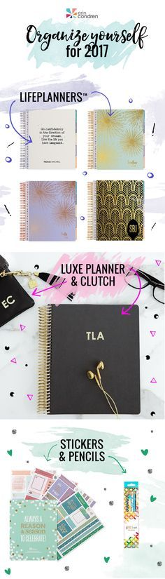Time to get organized for the New Year! 2017 is coming fast and January is the best time to set goals and start planning. Find inspiration in our latest collection of planners, notebooks, journals, and accessories!