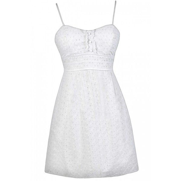 Happy Graduation Day White Eyelet Sundress ($38) ❤ liked on Polyvore featuring dresses, white wrap dress, white graduation dress, empire waist summer dresses, white dress and white cutout dresses
