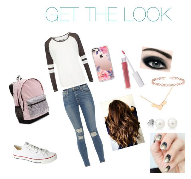 """Cute school outfit"" by howboutthat-1 on Polyvore featuring Frame, Superdry, Converse, Victoria's Secret, Casetify, Max Factor, GURU and Allurez"