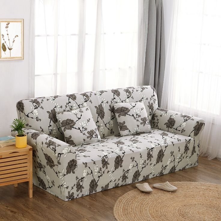 18 46USD Grey Flowers Couch Sofa Cover Polyester Couch Sofa Cover For  Living Room Loveseat