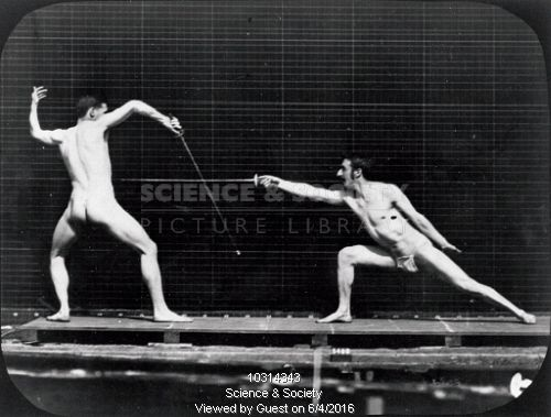 Two near-naked men fencing, c.1870s.