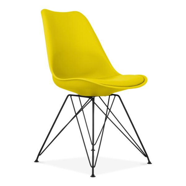 Yellow Eames Dining Chair with Eiffel Metal Legs | Cult Furniture