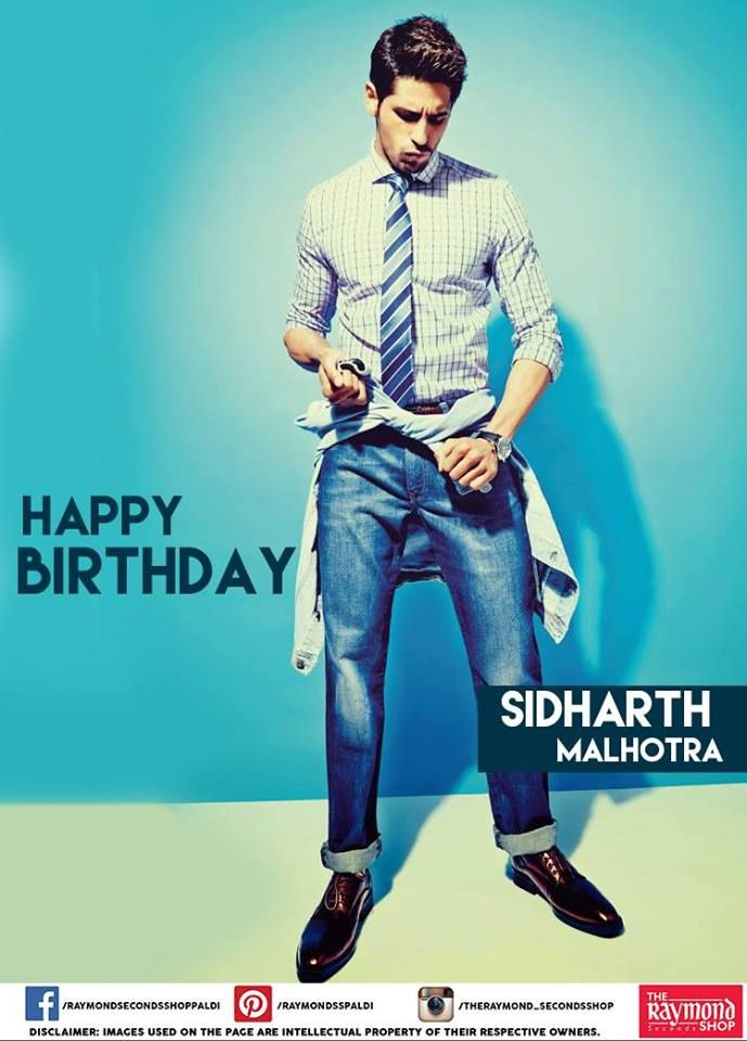 The Raymond Seconds Shop - wishes the Bollywood actor, Sidharth Malhotra a very happy birthday !  Did you know that he is the first man to be featured twice on the cover of Men's Health India.  #Bollywood #Actor #HappyBirthday #SidharthMalhotra #MensHealthIndia #India #Lifestyle #Magazine #Apparels #Gentleman #Ahmedabad #showroom #Fashionistas #StyleQuotient