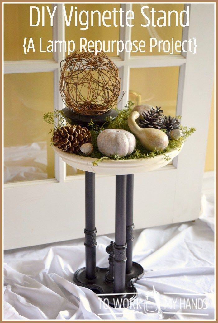 Love a great repurpose project? Transform an old lamp into a DIY Vignette Stand.