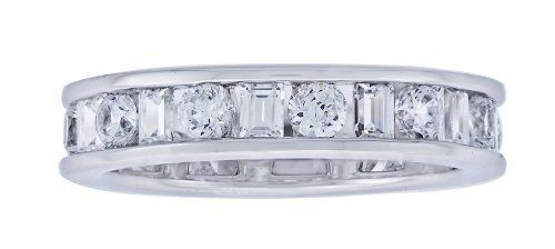 Platinum Plated Sterling Silver Clear Cubic Zirconia Band Ring Amazon Curated Collection. $31.00. Baguette And Round Can Be Stackable. Made in China