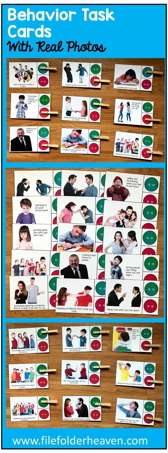"These Behavior Task Cards (w/Real Photos) include 1 complete set of ""Go Behaviors/No Behaviors"" Task Cards with a total of 30 (very large--almost a half of a page in size) cards included that focus on social skills and appropriate school behavior. These task cards are intended for students benefit from large, clear, visuals and real photos.  What are ""Go Behaviors and No Behaviors?"" A Go Behavior is a good behavior. This means, ""It's good. Go ahead and do it."" A ""No Behavior"" is a bad…"