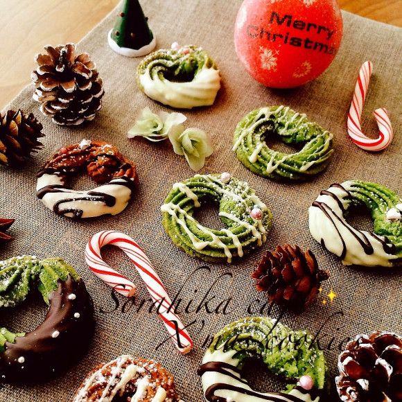 クリスマス仕様♡抹茶とチョコの絞り出しクッキー