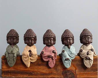 Peaceful sitting and meditating Buddha, Sits on a shelf 4 inches tall - Buddha Figurine - Buddha Gift - Meditating Buddha - Namaste Buddha